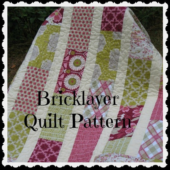 PATTERN Brick Layer Lap Quilt ...easy, uses fat quarters or layer cake