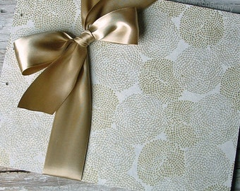Gold Guest Book, 50th Anniversary Guest Book, Blossoms in Gold on Ivory,  {MADE upon ORDER}