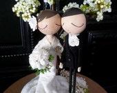 Wedding Cake Topper with Custom Wedding Dress and Tree Background - Custom Keepsake by MilkTea