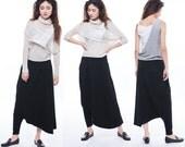 Asymmetrical black harem pants casual pants