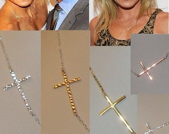 Skinny Hammered Sideways Cross Connector, 18k Gold on Sterling Silver, 4 pcs, 28x17mm