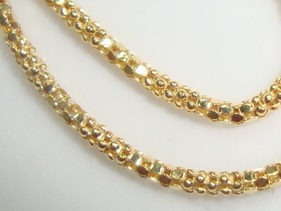 Sterling Silver Beautiful Wheat Chain, Finished Chain, 18K Gold Plate, 1 pcs, 18 Inches, 2mm - Made in Italy