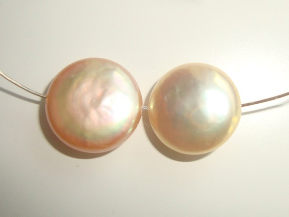 Clearance, Fresh Water Pearls, Freshwater Coin Pearl, Peach Cream, Champagne, 2 pcs, Romantic,11-11.6mm