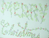 Letterpress Christmas Holiday Card - Holly Type
