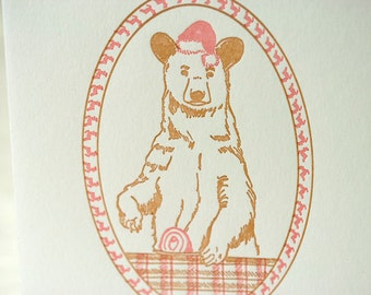 SALE - Letterpress Christmas Holiday Card -BOXED SET- Xmas Bear - 60% off