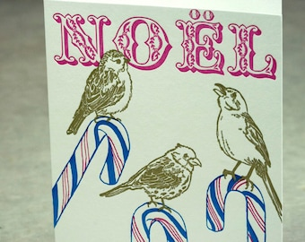 SALE - Letterpress Christmas Holiday Card - BOXED SET - Candy Cane Birds - 60% off