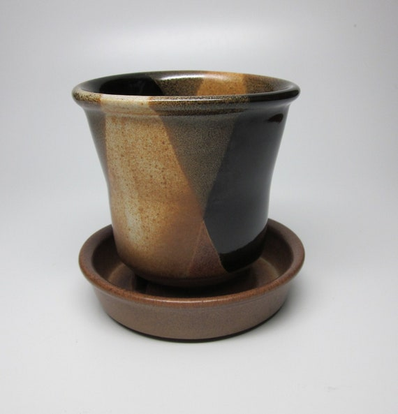 Pottery Craft Stoneware Flower Pot - in the style of Robert Maxwell