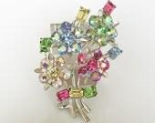 Vintage Lisner Rhinestone Flower Bouquet Brooch