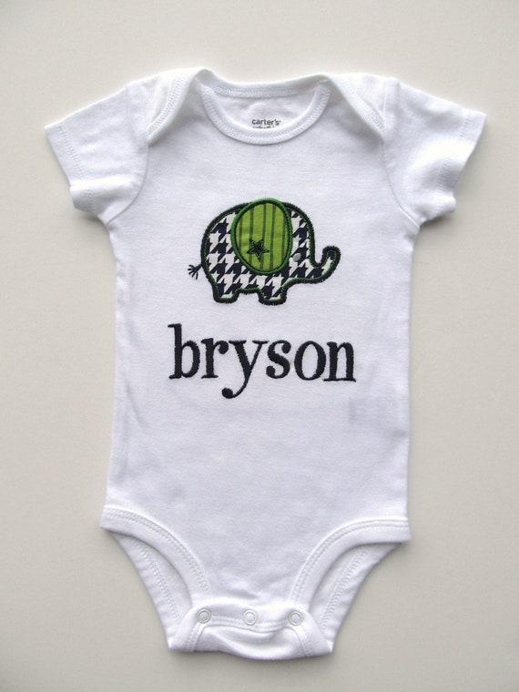 Personalized Elephant Bodysuit -Personalized Embroidered Elephant Bodysuit - Baby Boy Bodysuit-  Applique Elephant Bodysuit