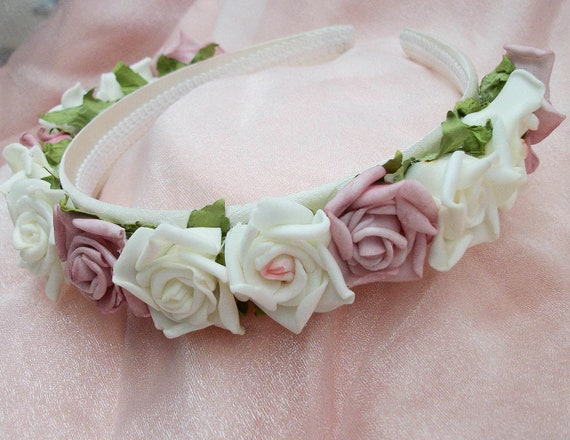 Handmade Realistic Pink And Cream Roses Bridesmaids Or Flower Girl Satin Headband