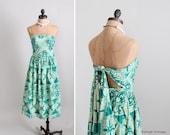 Vintage 1940s Dress : 40s 50s Tiki Tie Back Sundress