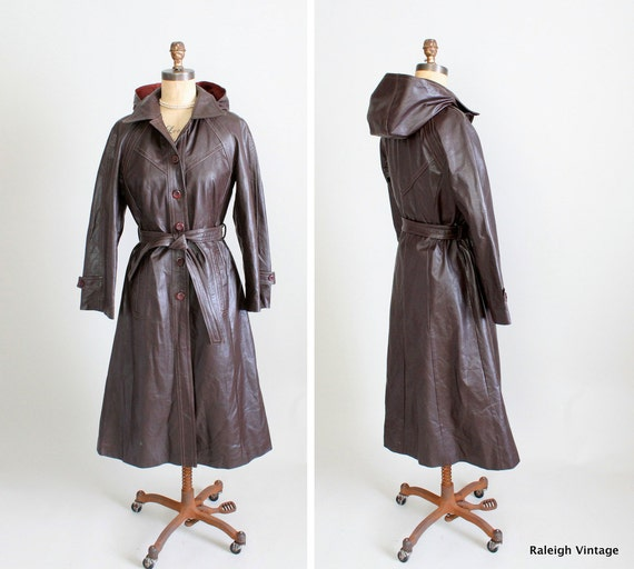 Vintage 1970s Coat : 70s Leather Hooded Trench Coat
