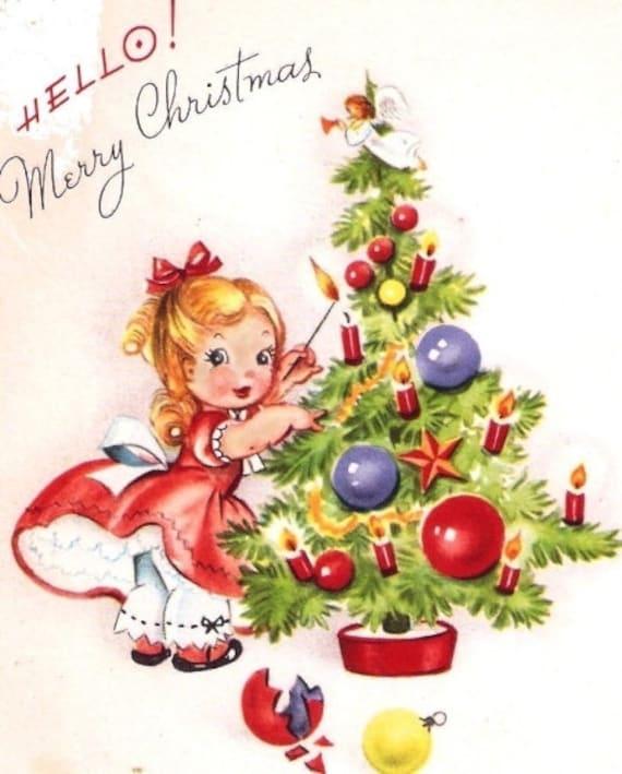 Little Girl Christmas Tree: Little Girl Decorating A Tree Vintage Christmas Card