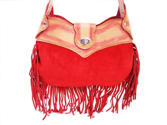 Vintage Tooled Leather and Red Suede FRINGE Purse