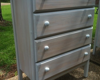 Chest of drawers finished in a gray wash with a darker undertone showing through hand built to order