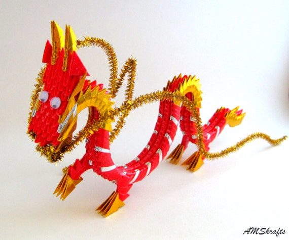 Red Gold 3D Origami Dragon 2012