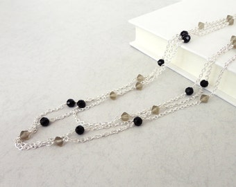 Long chain necklace long wrap necklace black grey beads minimalist necklace