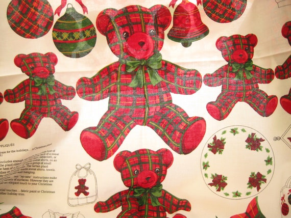 Christmas Plaid Bears and Bows Cranston Print Works Fabric Panel