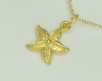 Starfish Gold Charm Necklace, Free US Shipping