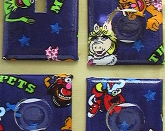 Muppets Kermit the Frog, Miss Piggy, Fozzie Bear, Gonzo the Great, Animal Single Switch Plate Cover & 3 Outlets includes child safety cover