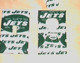 Ney York Jets Set  Light Switch Cover Plate and 1 Outlet  includes child safety covers