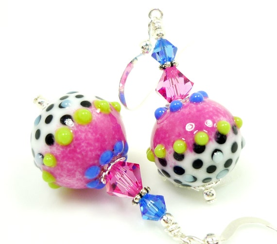 Pink Earrings, Lampwork Earrings, Pink Blue Black White Earrings, Glass Bead Earrings, Polka Dot Earrings, Glass Earrings