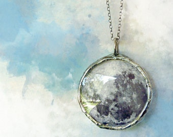 Moon Necklace. Sterling Silver Chain. Full Moon Jewelry. Small Double Sided Pendant