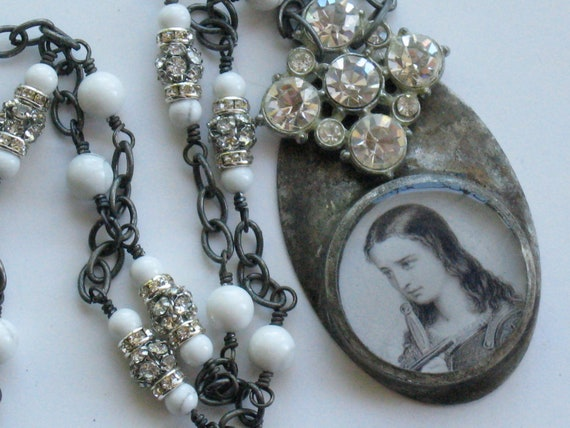 Joan of Arc Necklace Religious Vintage Rhinestone Button