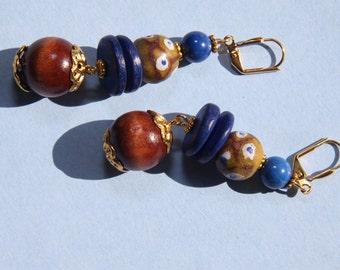 "2""  3/4 L  Ghana, African glass bead dangle earring"