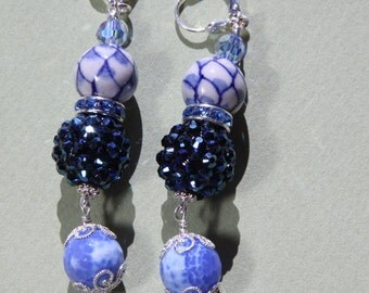 """3 """"L Blue n White Diamond Patterned Porcelain drop earrings    Orient 1"""