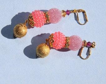 Dangle earrings  Pink vintage berry bead, sugar resin bead, raspberry  crystal