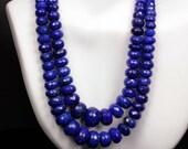 Lapis Rondelles, Lapis Lazuli, Rondels, Deep Blue Lapis, Faceted Roundels, Pyrite, Genuine Lapis - 1/2 Strand