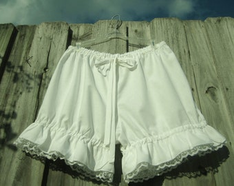 White bloomers with white lace-Plus size- custom made