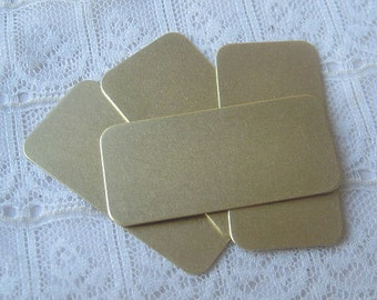 """3/4"""" x 1&9/16""""  Brass Blanks Rectangle Rounded Corners for Stamping , Embossing, Etching Qty 4"""