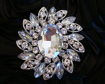 SALE CLEARANCE 35% OFF Large Glamour 65mm Silver Plated Rhinestones Crystals Brooch Pin, Bridal Bouquets, Wedding Accessories