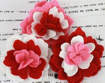 BRAND NEW - Red Poppies and Peonies Collection - Felt Flower Embellishments Fabric Flowers