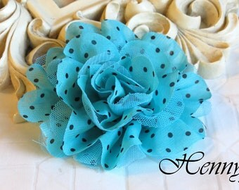 New: 2 pieces Polka Dots Chiffon and Tulle Fabric Flowers - Aqua w/ Black Dots