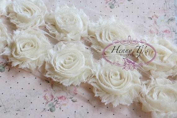 2 1/2 inch- 1 yard Chiffon Shabby Rose Trim, Hair Bow. Chiffon Rossettes Trim in IVORY Cream, Hair Bow