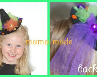 Witch hat, girls witch hat, teen witch hat, adult witch hat, mini witch hat, witch hat with tulle, purple,lime, orange and black witch hat