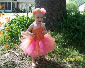 Hot Pink and Orange Tutu Dress with matching hair accessory, pink and orange tutu dress, girls tutu dress, flower girl tutu dress, birthday