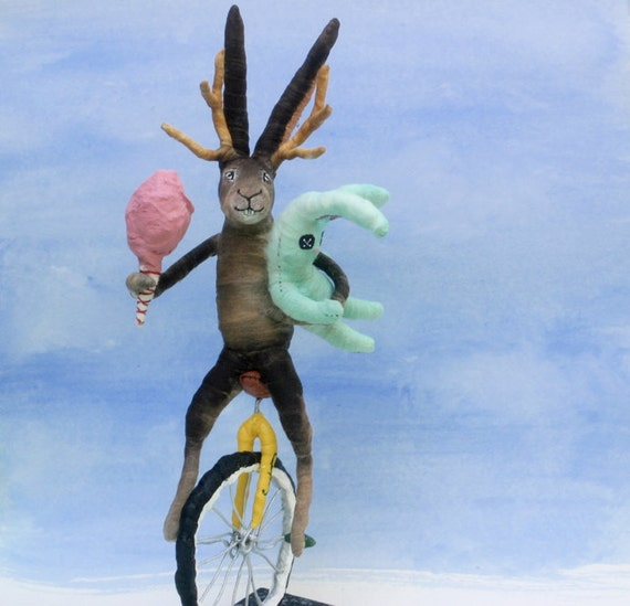 Ooak Spun Cotton Jackalope on Unicycle back from  County Fair Art Sculpture