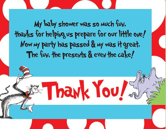 Items Similar To 25 100 Dr Seuss Thank You Cards PRINTED On Etsy