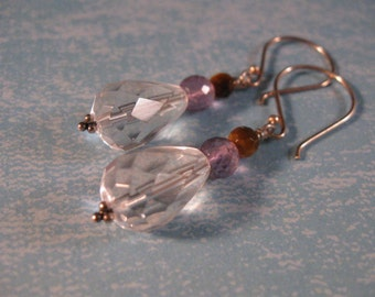 Gemstone Drop Earrings, dangle earrings, gemstone earrings,silver earrings, jewelry ,silver jewelry,amethyst earrings,birthstone earrings