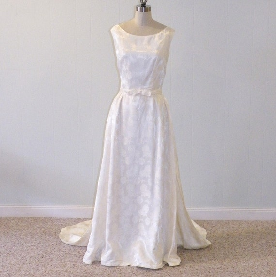 1960s Wedding Dress 60s Ivory Damask Vintage By Daisyandstella
