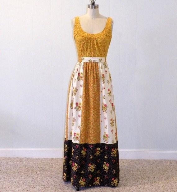 1970s Dress / 70s Maxi Boho Dress, Lanz Original Floral Cotton Print Full Length Sleeveless Sun Dress, Sash Belt, Schwartz Liebman Textiles