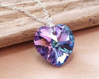 Heart Necklace, Swarovski Heart, Heart Pendant, Gift for Her, Crystal Heart, Pink, Purple, Violet Heart, Sterling Silver Necklace, Gift