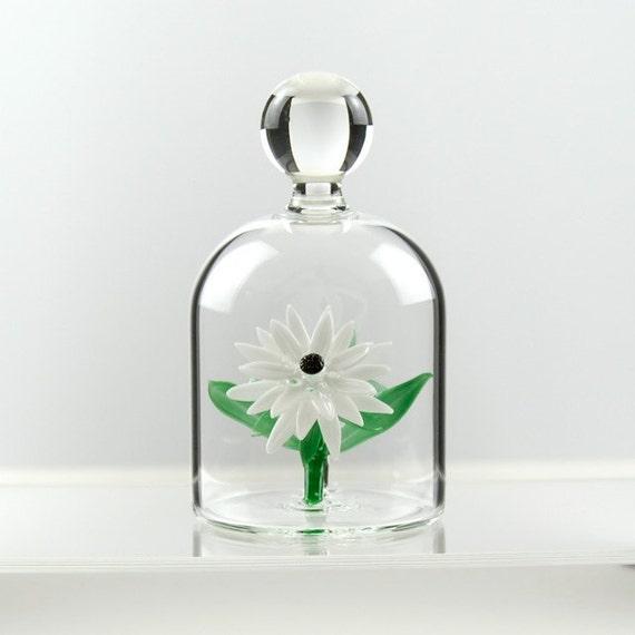 Glass Flower in a Jar - White Daisy