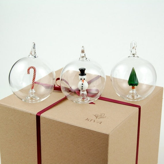 Gift Set of Three Hand Blown Glass Christmas Ornaments