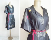 Black dress - vintage, 70s, primary colors, sheer, sale