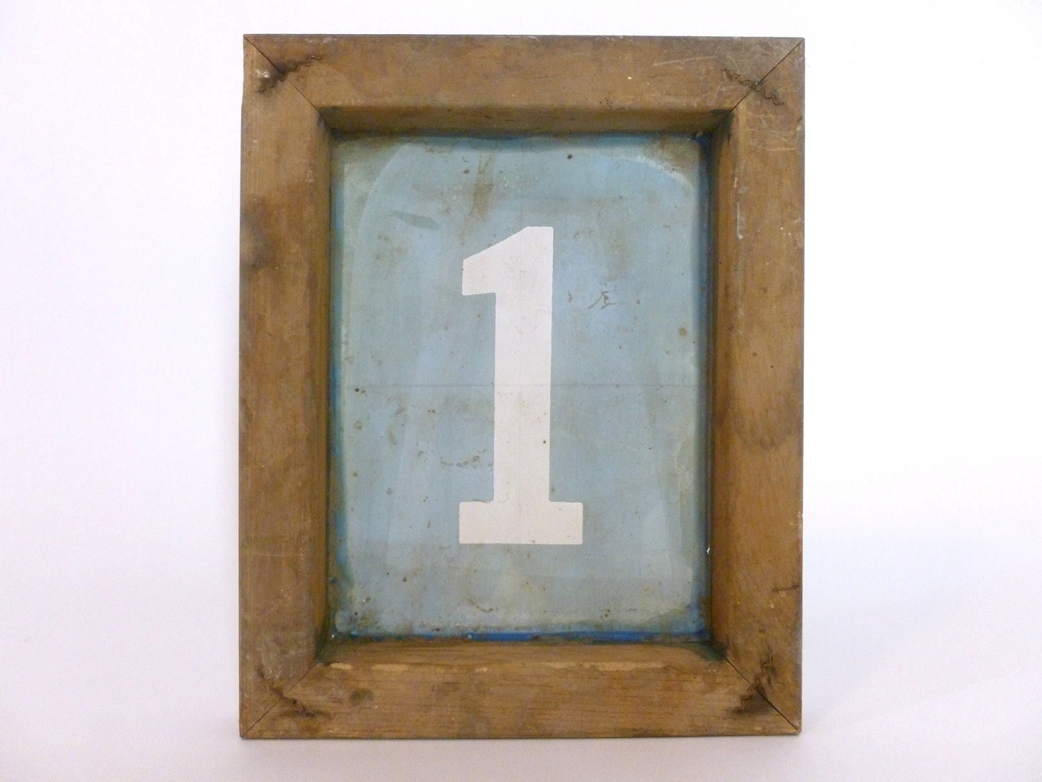 Vintage Wood Number 1 Silkscreen Wood Frame Retro